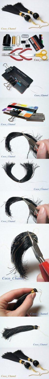 earrings zarcillos como hacer aretes tassel flecos handmade jewelry tutorial negros black