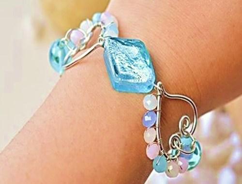 brazalete cristales bisuteria alambre joyeria gratis paso a paso