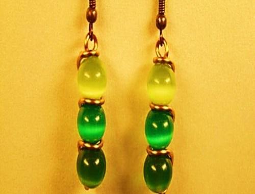 zarcillos aretes pendientes verdes