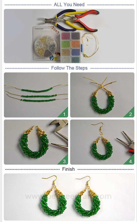 aretes mostacilla alambre wire earrings DIY