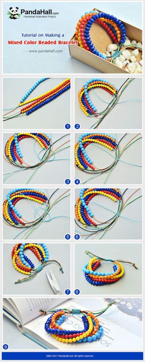pulseras perlas colores nudo macrame jewelry bracelets handmade DIY Bisuteria