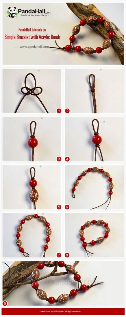 pulseras bracelets beads red mostacilla