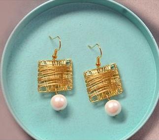 zarcillos aretes alambre wire dorado golden pearl jewelry handmade diy