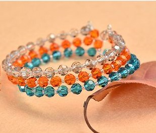 pulseras bracelets beads orange blue crystals cristales alambre memoria bisuteria jewelry handmade
