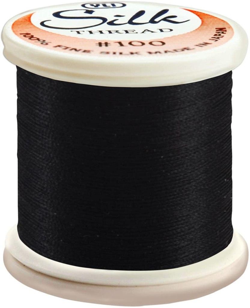 Silk Thread 100 Weight 200 Meters-Black handmade jewelry making supplies
