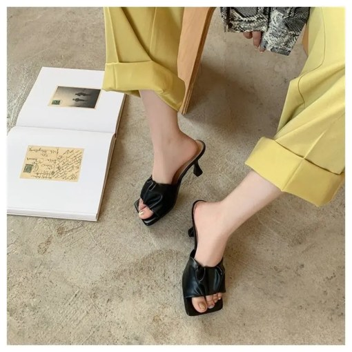 Square Toe Thin High Heel Women Slippers Women's Fashion View All Footwear