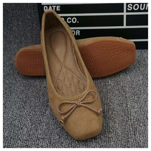 Suede Square Toe Flats Shoes Women's Fashion View All Footwear