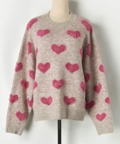 Heart Pattern Knit Oversized Pullover Sweater Women's Fashion View All Women's Clothing Sweater