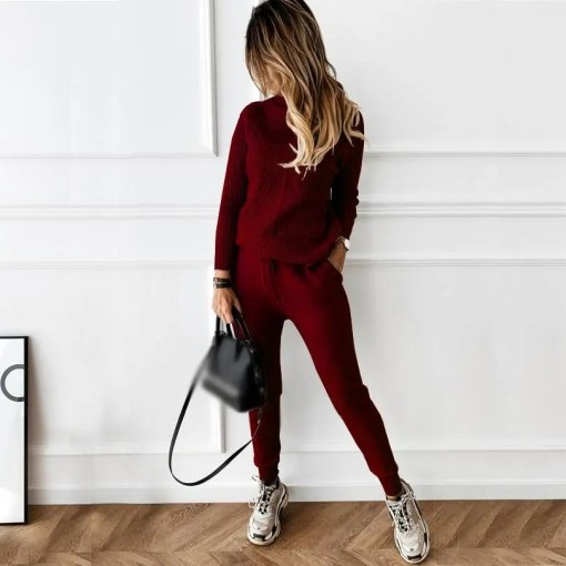 Women's Tracksuit Sweater With Elastic Trousers Suits Other Products