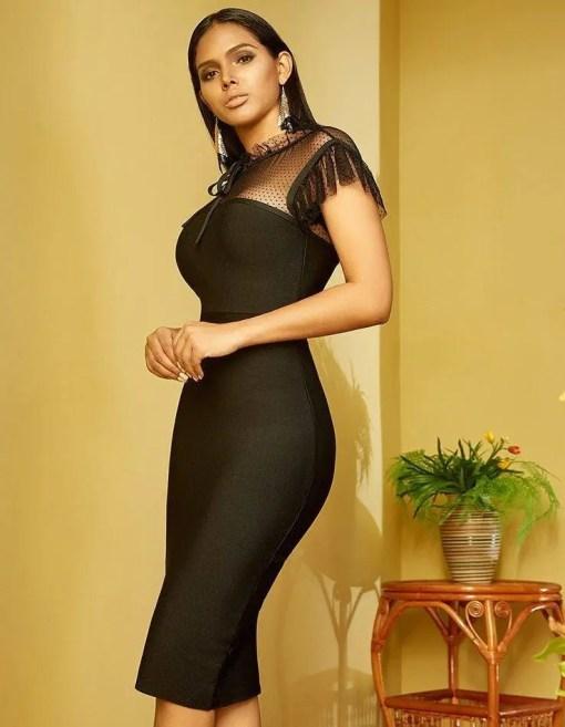 Women Black Bandage Short Sleeve Body-Con Dress Women's Fashion View All Women's Clothing Dresses