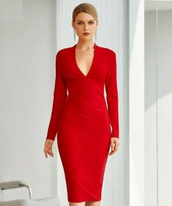 Women V-Neck Long Sleeves Body-Con Evening Party Dress Women's Fashion View All Women's Clothing Dresses