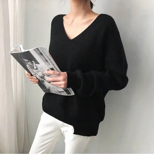 Women V-Neck Oversized Long Sleeves Casual Sweater Women's Fashion View All Women's Clothing Sweater