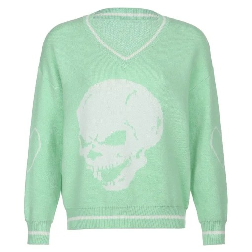 Women Casual Loose Skull Print Sweater Women's Fashion View All Women's Clothing Sweater