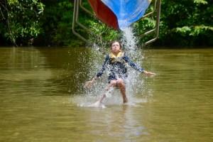 Kid on waterside