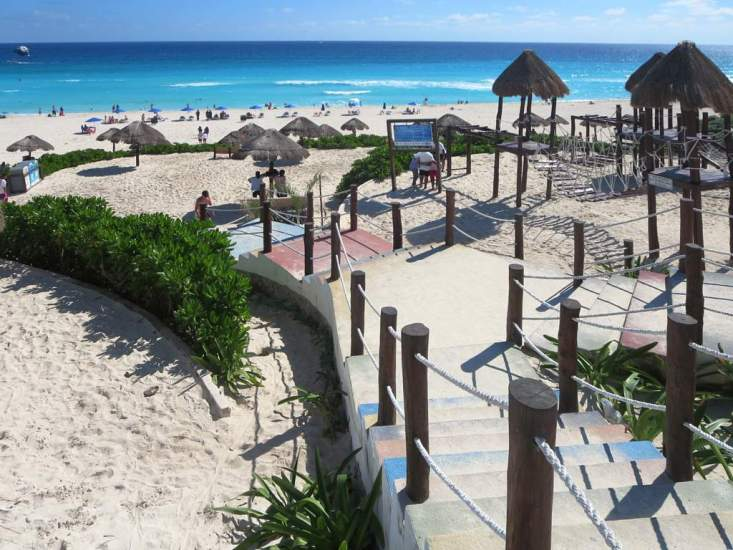 Playa Delfines is the most popular resort-free beach at Cancun, Mexico.