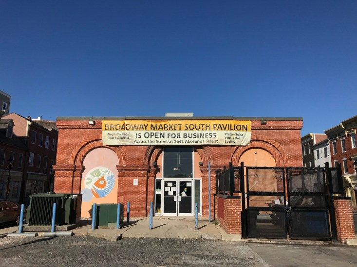 The Broadway Market is one of the most famous public markets in Fells Point, Baltimore.