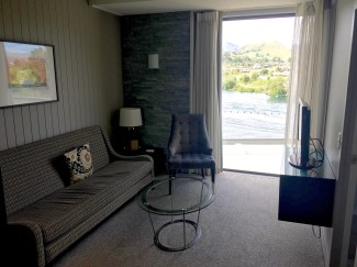 Living room of our suite, with an amazing view of the lake.