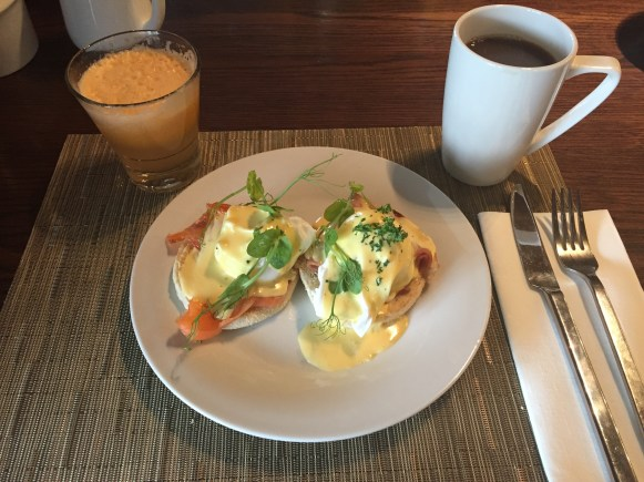 Made-to-order breakfast item: eggs benedict.