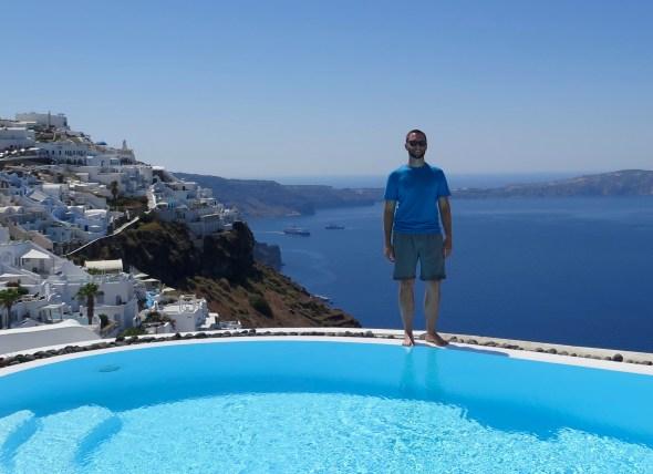 Pool time in Santorini