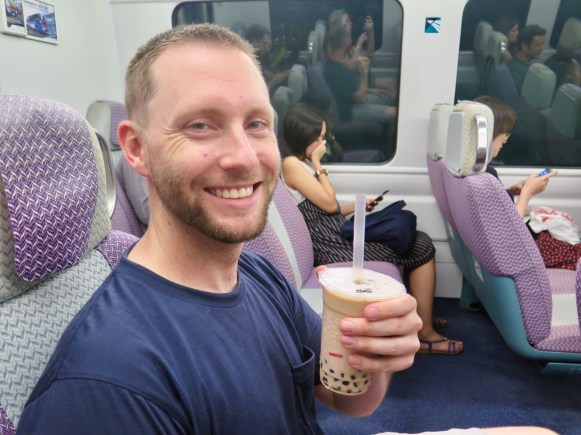 MTR to the airport with my bubble tea
