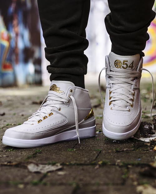 white gold Jordan 2 quai shoelaces
