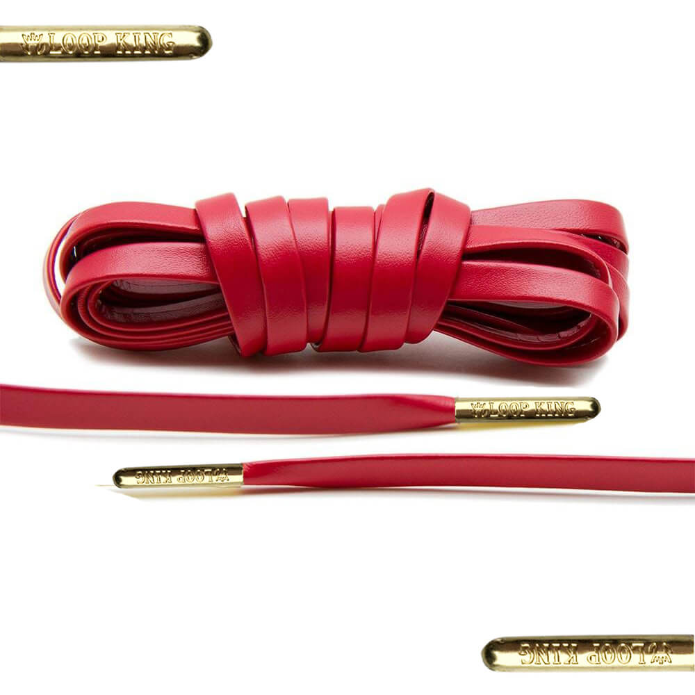 7f132effe5bf Luxury Red Leather Shoe Laces with Gold Tips - From Loop King