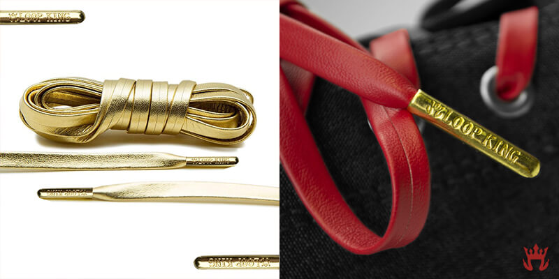 close look at loop king gold tip on leather shoelace