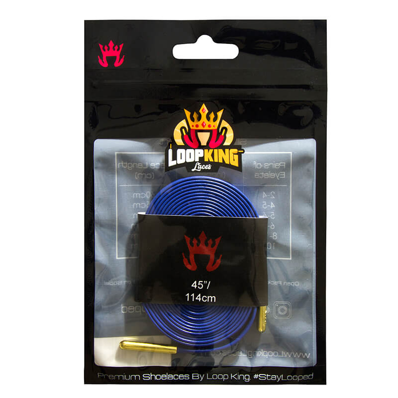 2aa9360e5613 Royal Blue Luxury Leather Shoelaces with Gold Tips. Loop King Laces  Packaging for Royal Blue Shoe Laces
