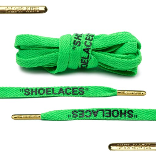 green off-white shoelaces with gold tips