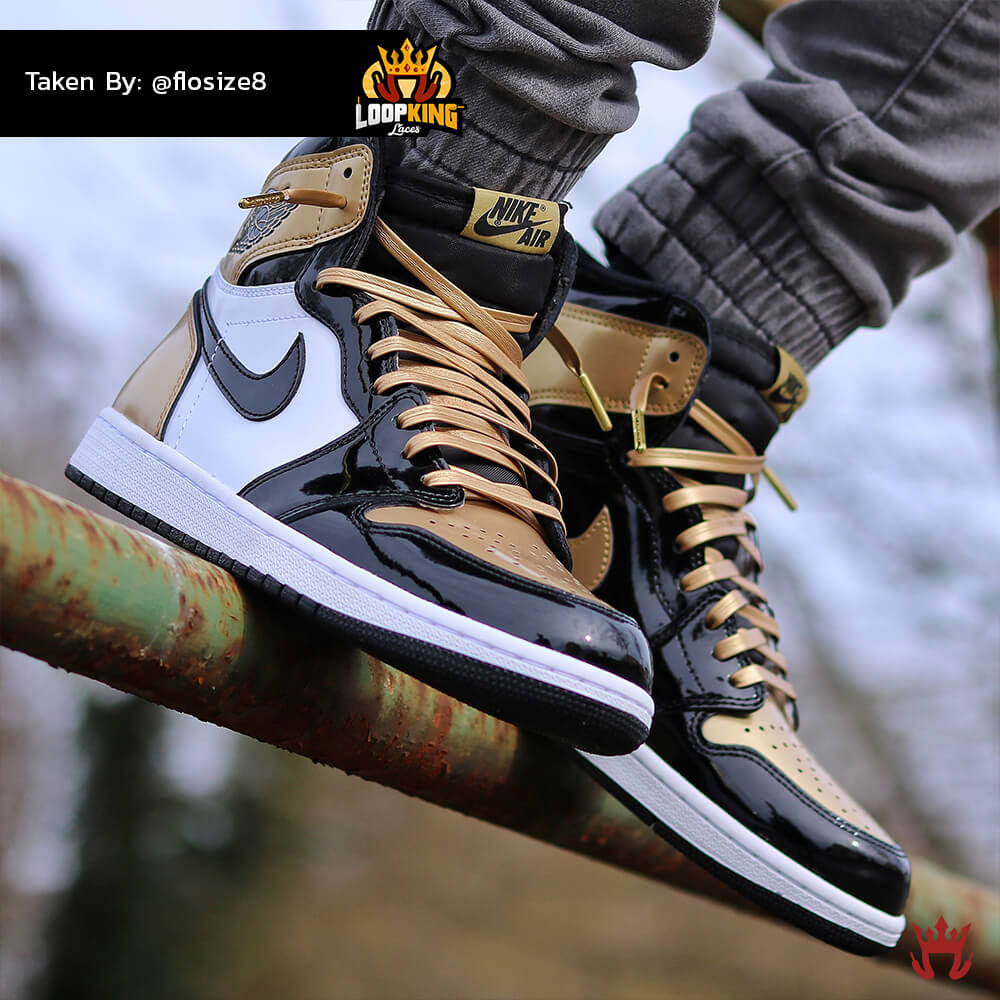 Loop King Laces Gold Leather Shoelaces on Gold Toe Jordans 2