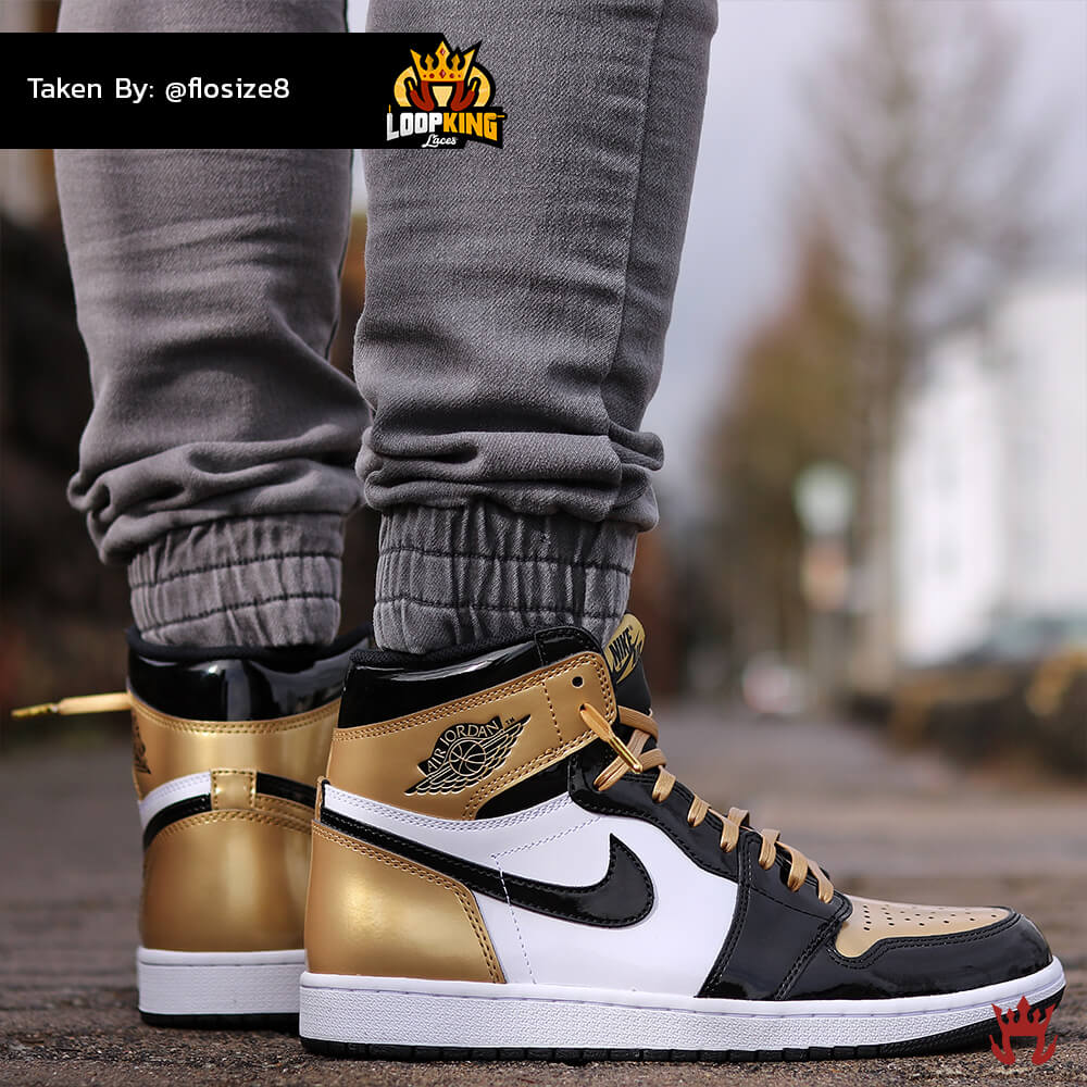 Loop King Laces Gold Leather Shoelaces on Gold Toe Jordans 4