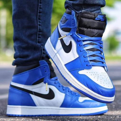 luxury royal blue leather laces in jordan 1s