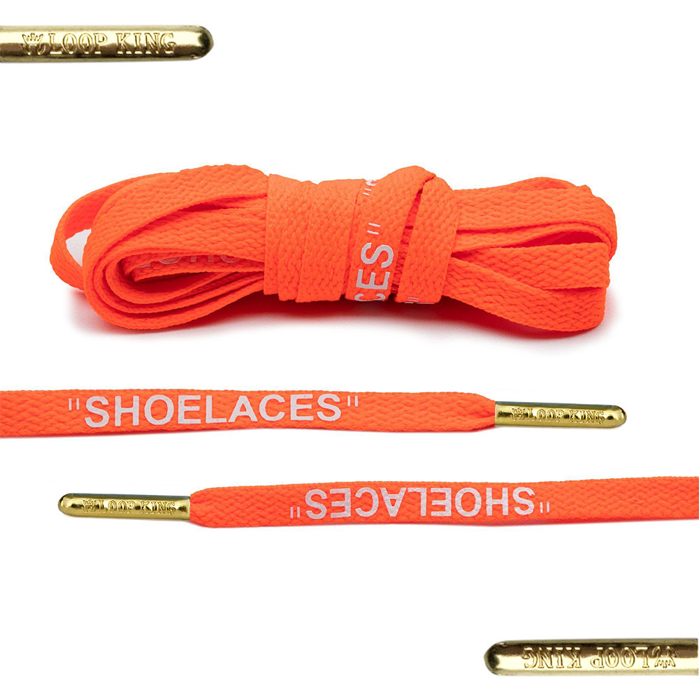 orange off-white shoelaces with gold tips