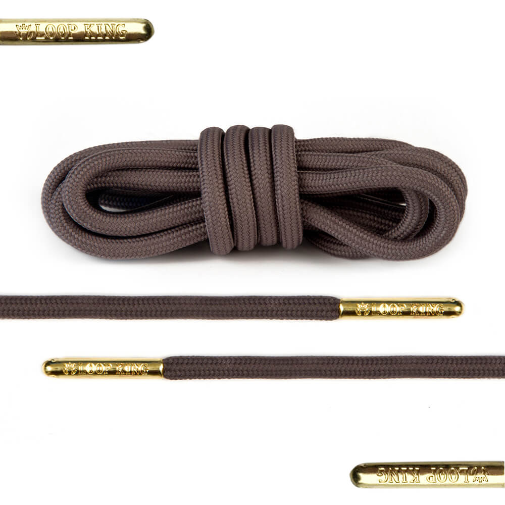 rope brown shoe laces with gold tips