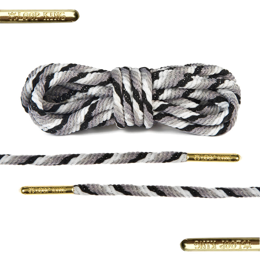 rope grey black white shoe lace with gold tips