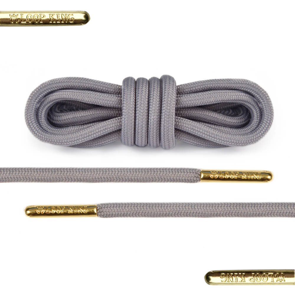 rope grey shoe lace with gold tips