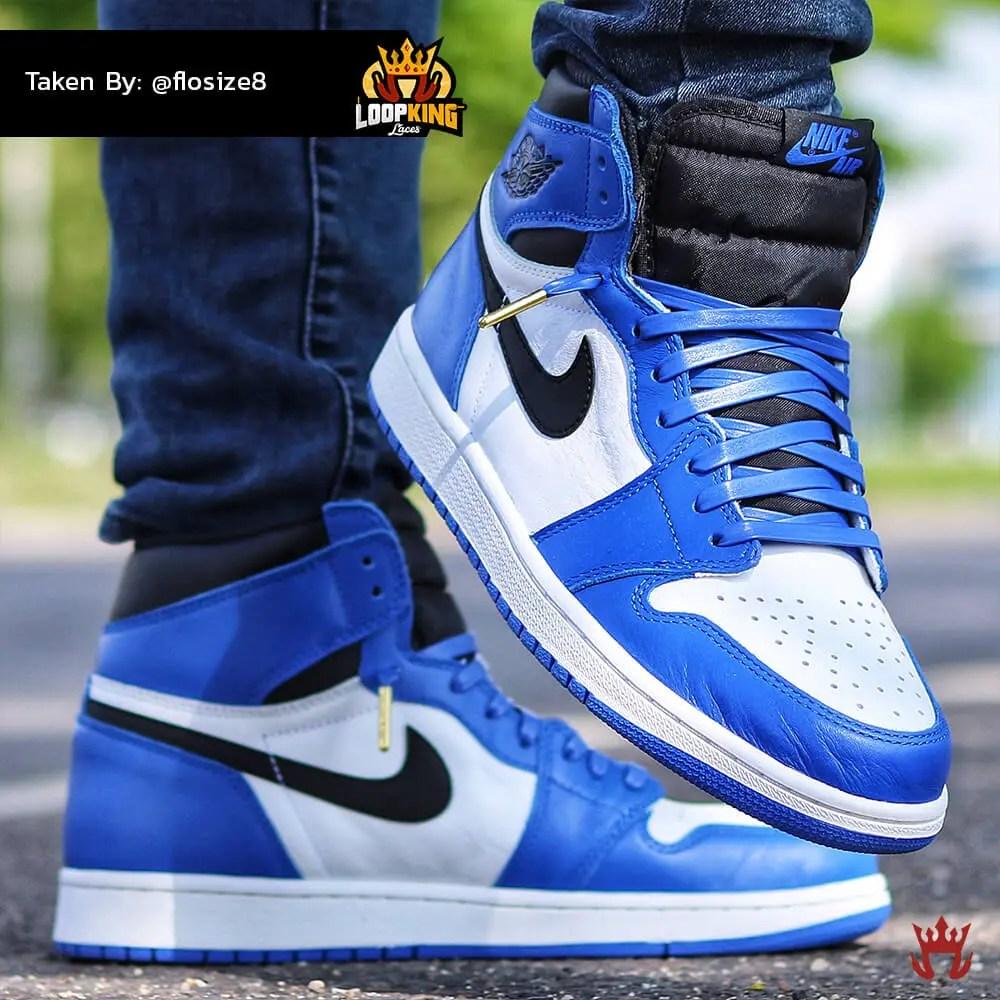 royal blue leather laces on jordan 1