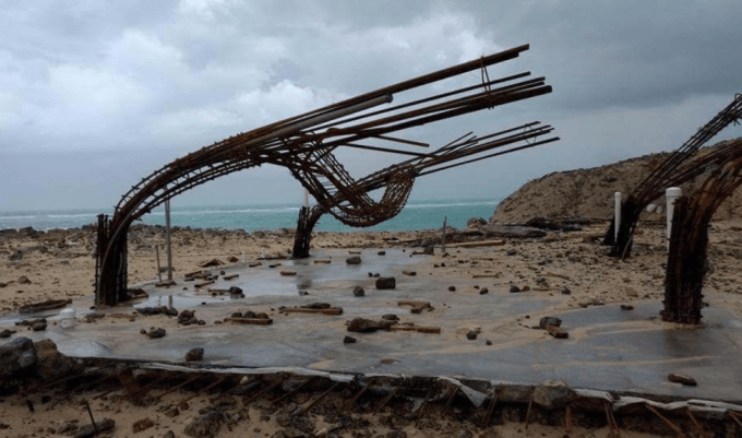 Steel foundations of a building which was destroyed by Hurricane Irma last week.