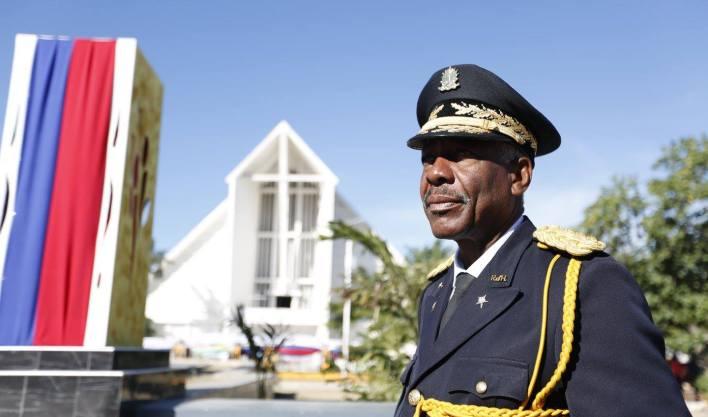 Le Commandant en Chef des Forces Armées d'Haïti, le Lieutenant-Général Jodel Lessage, aux Gonaïves le 1er janvier 2018./ Ministère de la Défense - Haïti (Facebook)