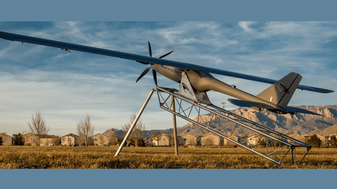 """Photo: The Silent Falcon™ drone system. Photo via the company's website. The company says the """"patent pending Silent Falcon is a solar electric, carbon fiber, modular small Unmanned Aircraft System (sUAS) designed for numerous commercial, public safety, military and security applications."""""""