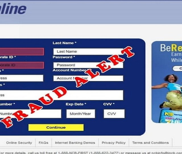 The Fake Webpage Used By Fraudsters In A New Scam Targeting Ncb Customers