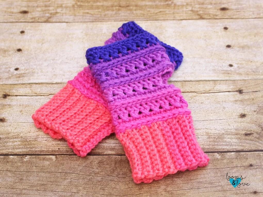 Criss Cross Fingerless Gloves Loops Love Crochet