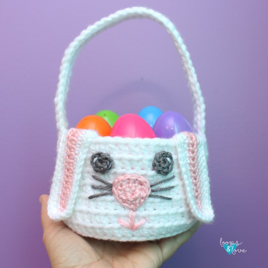 Crochet Bunny Basket by Loops and Love Crochet