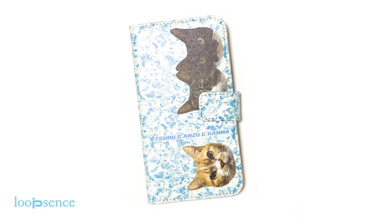ループセンス、猫のオーダー手帳型スマホケース作品