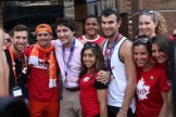 Justin Trudeau with some members of the Canadian Olympic Team