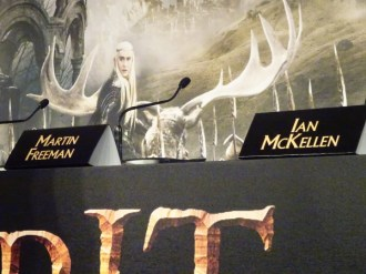 The Hobbit: The Battle of the Five Armies. My audio recorder sits between Bilbo & Gandalf.
