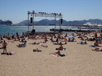 Outdoor cinema on the beach.