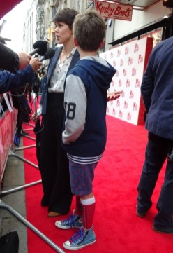 Kinky Boots Opening Night: The film's star Sarah-Jane Potts and son in Kinky Boots socks!