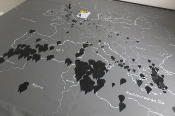 """Representation of the """"Migrant files"""" - http://www.themigrantsfiles.com/; a compilation of missing or dead refugees on their way to Europe. Collected through a consortium of European journalists."""