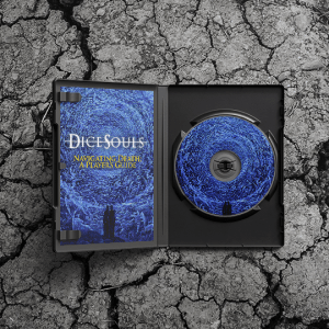 """A DVD case lying on a cracked stone surface. The case is open, revealing a booklet with a blue painting of a spiral of angels. A pair of silhouetted figures state into the void at the centre, where white text reads """"Dice Souls"""". Beneath it, yellow text says """"Navigating Death: A Player's Guide"""". On the right side of the case is a CD with the same blue spiral of angels on it."""
